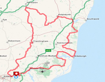 Suffolk Coast 100 Sportive Bike Ride 100 Mile Route