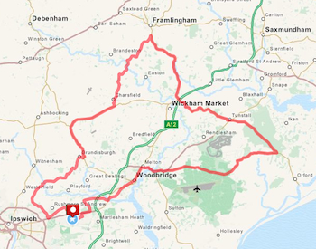 Suffolk 100 Sportive Bike Ride 45 Mile Route
