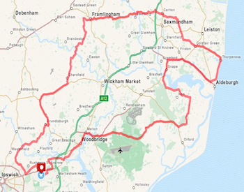 Suffolk Coast 100 Sportive Bike Ride 63 Mile Route