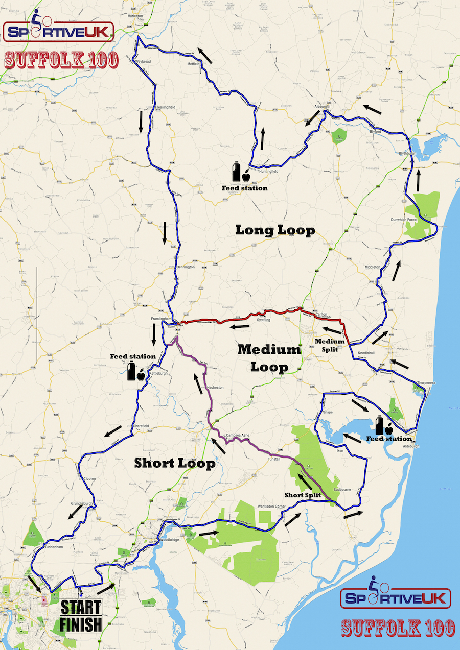 Suffolk 100 Sportive Map