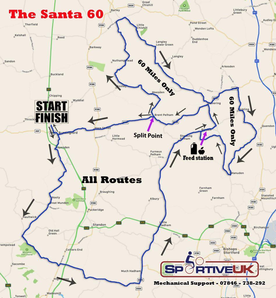 Santa 60 Bike Ride Map